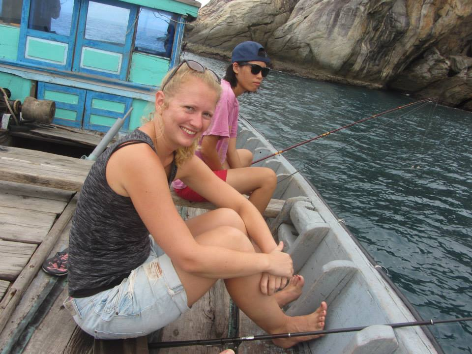 Tu and Phoe fishing on Cham island